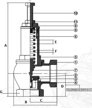 Чертеж Клапан предохранительный OR 1831 муфтовый угловой 0,5-16 бар